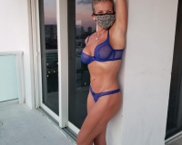 blue lingerie with mask arm up